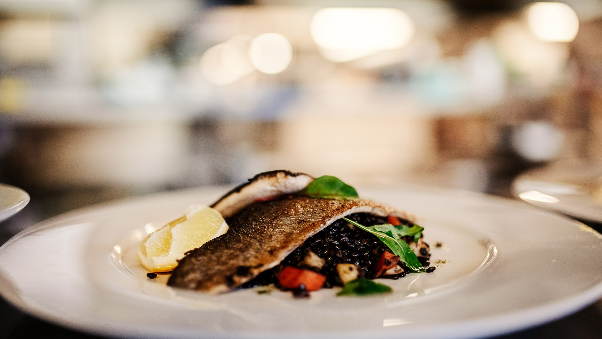Food picture Fish with lentils in restaurant