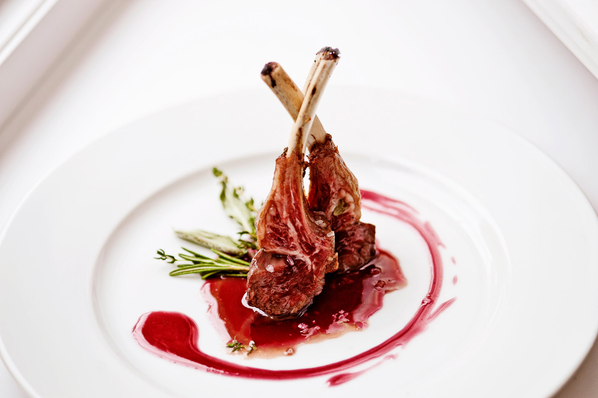 Food picture-Grilled mutton on white plate