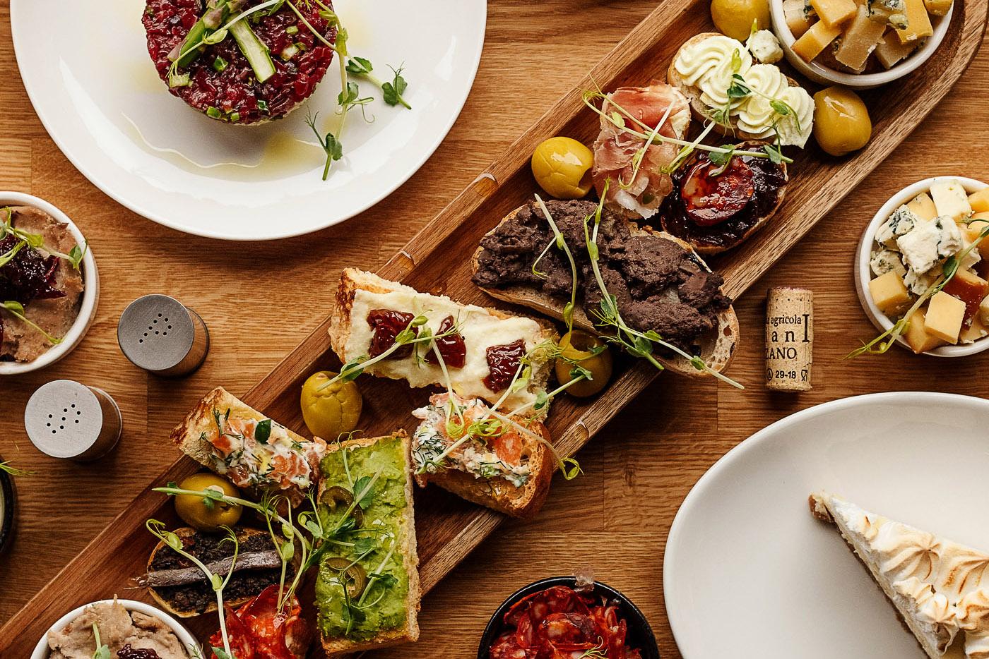 food photography tapas on the table brno